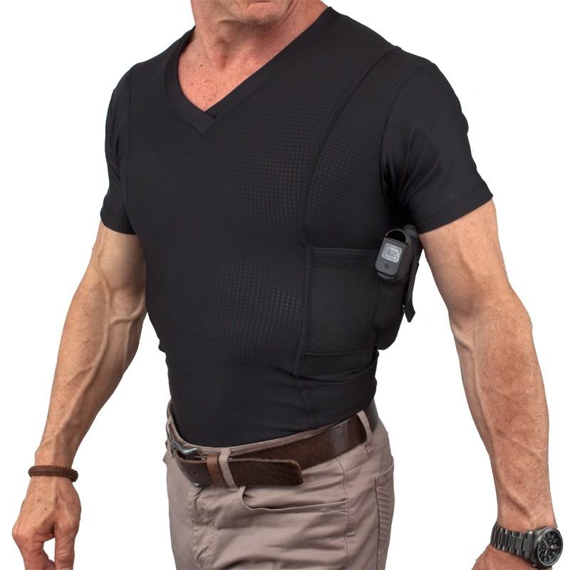 UnderTech Undercover Mens Concealment Holster V-Neck Coolux Shirt
